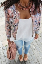 2017 Bomber Jacket Bohemia Print O-Neck Casual Jackets Women Zipper Jackets Women Autumn Jacket Down Coat Long Sleeve Outwear