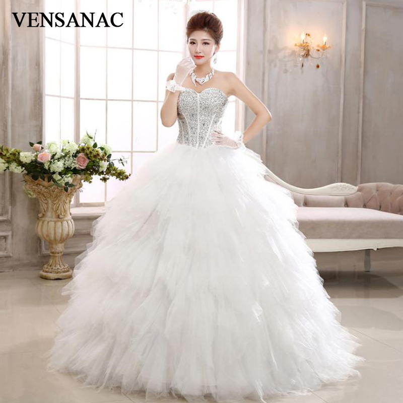 VENSANAC 2018 Luxury Crystal Strapless Feathers Ball Gown Wedding Dresses Plus Size Off The Shoulder Bridal Gowns