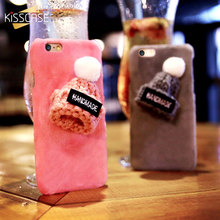 KISSCASE Christmas Hat Phone Case For iPhone 7 7 Plus Case Cute Christmas Girly Gift Cover For iPhone 5 5s iPhone 6 6S Plus(China)