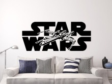 Hot Movie Star War X-wing Wall Sticker Home Decoration Kids Boys Bedroom accessories muusticker Wall adesivo Fighter NY-231(China)