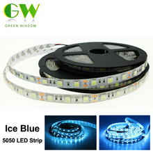 Ice Blue 5050 Led Strip Waterproof /No Waterproof DC12V Flexible LED Neon Light 60 leds/m Indoor Home Decorations(China)