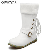 White Boots Woman 2017 Winter Fall Back Lace Up Mid-Calf Boots Fashion Slip On Warm Fur Shoes Women Sizes 34-43 WBS235
