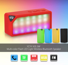 YCYY X3S 3W Wireless Bluetooth Speaker Portable FM Radio Mini LED Light TF Stereo Music Player Built in Mic AUX USB for Phone PC