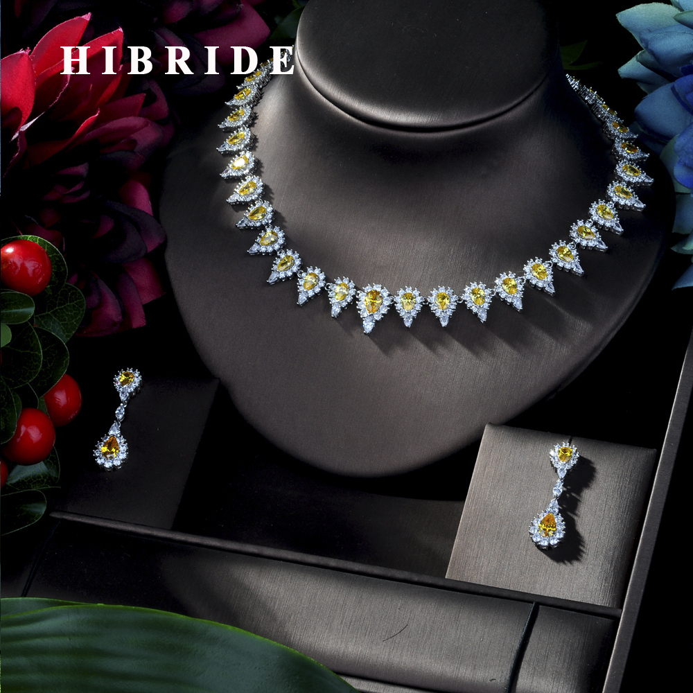 HIBRIDE Exclusive Luxury AAA Cubic Zirconia Heavy Necklace ,Drop Earrings 2 pcs Dubai Full Jewelry Set, Dinner Set N-204