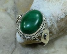 Hand makeNatural malachite  Ring,  100%  925 sterling Silver,  5.4g,  size :7.25,  Gift box