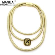 Buy MANILAI Bohemian Multilayers Statement Necklaces Women Handmade Collar Crystal Choker New Maxi Necklace Kim Kardashian Jewelry for $3.99 in AliExpress store