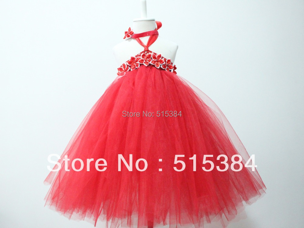 girls birthday party dress kids dresses for weddings red long tutu dress red princess dress1set free shipping<br><br>Aliexpress