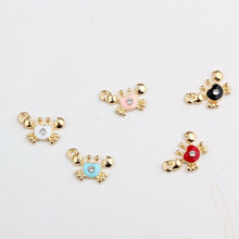 MRHUANG 10PCS Cute Sea Crab Enamel Pendant Charms Gold Tone Oil Drop DIY Bracelet Floating Charms