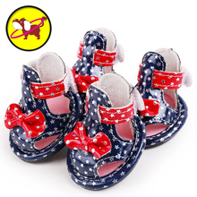 2017 petcircle new arrivals pet dog shoes summer PU star dog shoes for chihuahua yorkshire 2 colors pet products free shipping