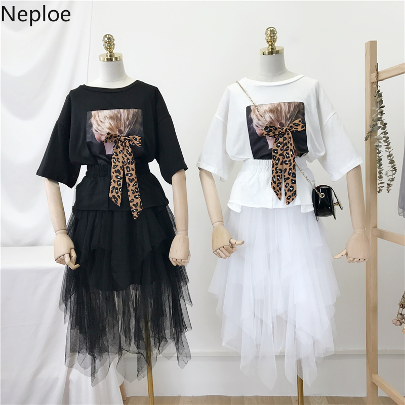 Neploe 2019 Korean Women Two Piece Outfits Leopard Print T Shirts +Elastic Waist Patchwork Mesh Maxi Skirt Sets Clothes 38865