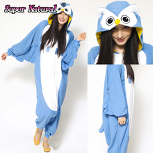 HKSNG Adult Winter Flannel Cartoon Animal Owl Kigurumi Pajamas Onesie Cosplay Costume For Women and Men(China)