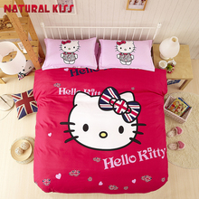 Solid color Hello kitty theme 4pcs Queen size Children  Household Cotton Bedding sets Duvet cover Quilt Bed sheet Pillowcase