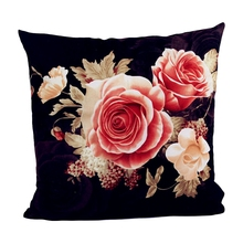 Flower Printing Dyeing Peony Sofa Car Bed Home Decor Pillow Case Cushion Cover BLACK
