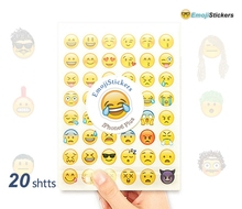 20 sheets Emoji Stickers Emoticons Smiley Sticker containing 48 Emojis Die Cut Emoticons Characters Symbols Faces expression