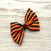Boutique Hair Bows 20PCS/ lot  - Decorative hair acessory chiffon fabric Bowknots for Halloween -orange/black striped cute bows