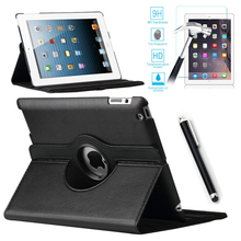 For Case Apple iPad 2/3/4 PU Leather Smart Stand Flip Case Cover 360 Rotating+Premium Tempered Glass Screen Protector+Stylus Pen