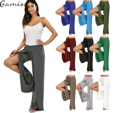 Gamiss 2017 Fashion style button high waist woman Ultra wide leg women pants trousers black thin bell bottom trousers wholesale