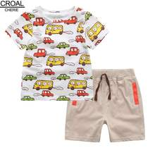 90-120cm Cotton Toddler Boys Clothing Sets Kids Clothes Fashion Cartoon Cars T-shirts and Pants Cute Children Clothing Summer