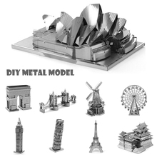 DIY 3D Metal Puzzle for Adult Kids Stainless Steel Model Puzzle Vehicle Aircraft Warship Tank Tower Bridge Castle