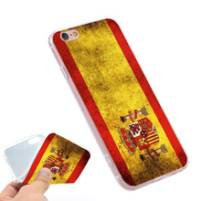 spain flag  Clear Soft TPU Slim Silicone Phone Case Cover for iPhone 4 4S 5C 5 SE 5S 7 6 6S Plus 4.7 5.5 inch