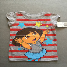 Retail 1 piece Free shipping Fashion girl's clothing princess Dora short sleeve summer t shirt top Tee