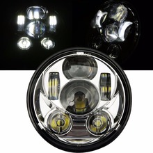 "1 Pc Black 5.75"" HID LED High Low Beam 5 3/4"" Front Driving Head Light Headlamp For Harley Davidson Motorcycle Daymaker"