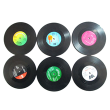 Brand New 6 PCS Vinyl Coaster Groovy Record Cup Drinks Holder Mat Tableware Placemat