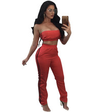 Sexy Two Piece Sets Strapless Crop Top and Long Pant Bodycon Suits Women Autumn Side Striped Backless Party 2 Piece Club Outfits(China)