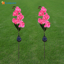 Lumiparty Outdoor Solar Powered LED Light Butterfly Orchid Flower Lamp for Yard Garden Path Way Lawn Landscape Decor