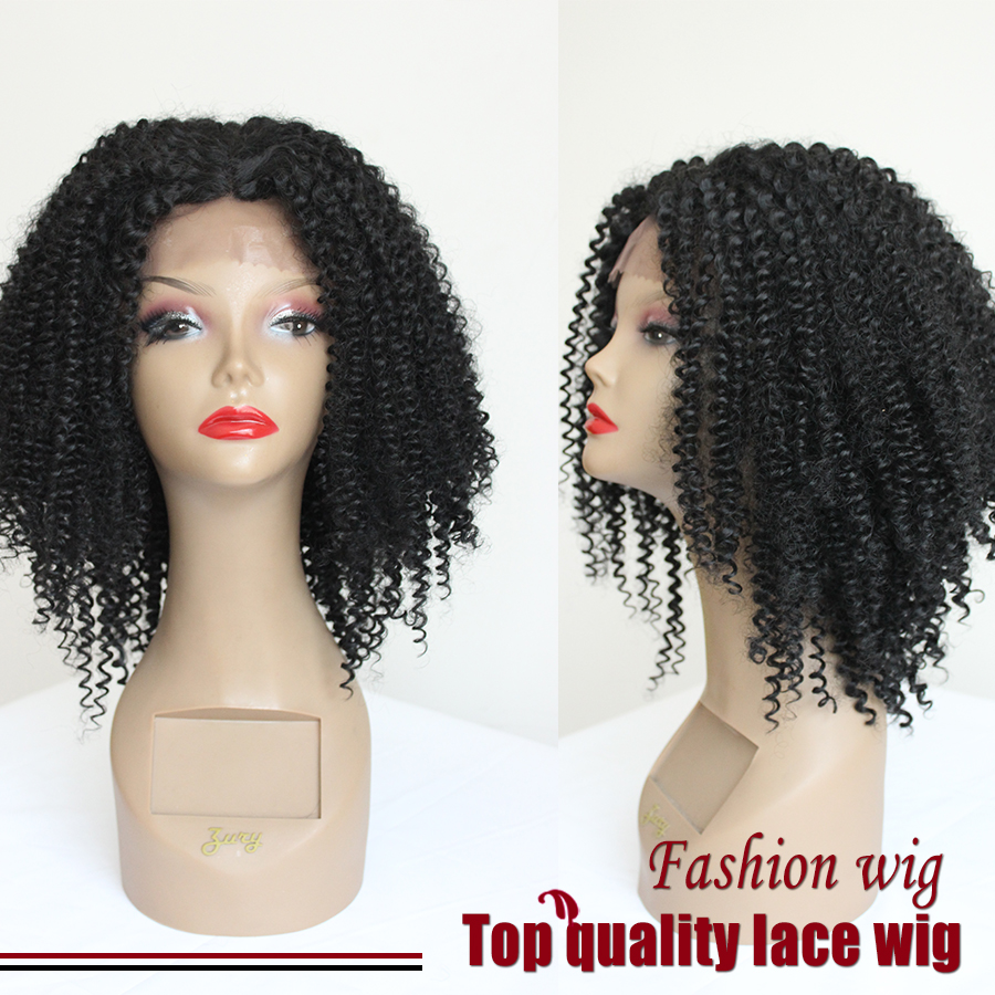 Hot!Top Density Short Fiber Kinky Curly Wig With Baby Hair Black Synthetic Lace Front Wigs Heat Resistant For Women Fastshipping<br><br>Aliexpress