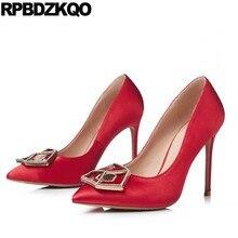 11 43 3 Inch Red Satin Shoes Rhinestone High Heels Crossdresser Thin 2018 Bride  Pointed Toe 10 42 Plus Size Pumps Women Crystal 71ce1b0abb62