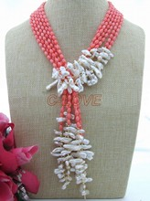 "3 strands 50"" Pink Coral&White Keshi Pearl Necklace"
