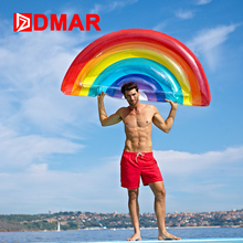 DMAR Inflatable Rainbow Giant Pool Float Mattress 177CM Swimming Ring Bed Sunbathe Beach Mat Swimming Circle Water Party Toys(China)