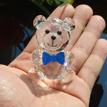Cute Bow Tie Bear Crystal Figurines Miniatures Handmade DIY Glass Animal Ornaments Home Decoration Accessories Kids Gifts(China)