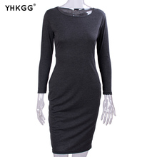 long sleeved dress Mid-Calf length at a Bodycon bandages fall black wine red armband Vestidos women dresses(China)