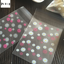 100 pcs/lot chrysanthemum adhesive bag cookies diy Gift Bags for Christmas Wedding Party Candy Food&Handmade soap Packaging bags
