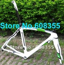 FR-308P Brand New Full Carbon 3K 700C Road Frame 54cm , Fork , Seatpost , Clamp , Alloy headset - GREEN WHITE(China)