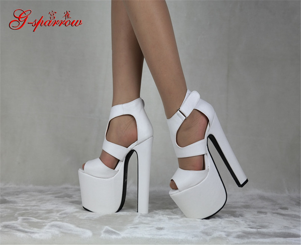 2017 Summer Style Ladies Black High Heeled Shoes 17cm Open Toe Sandals Fashion Womens<br>