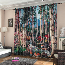 Carton Child kids 3d curtains Blackout curtains livingroom drapes bedroom window door christmas Paravent hanging screen wall