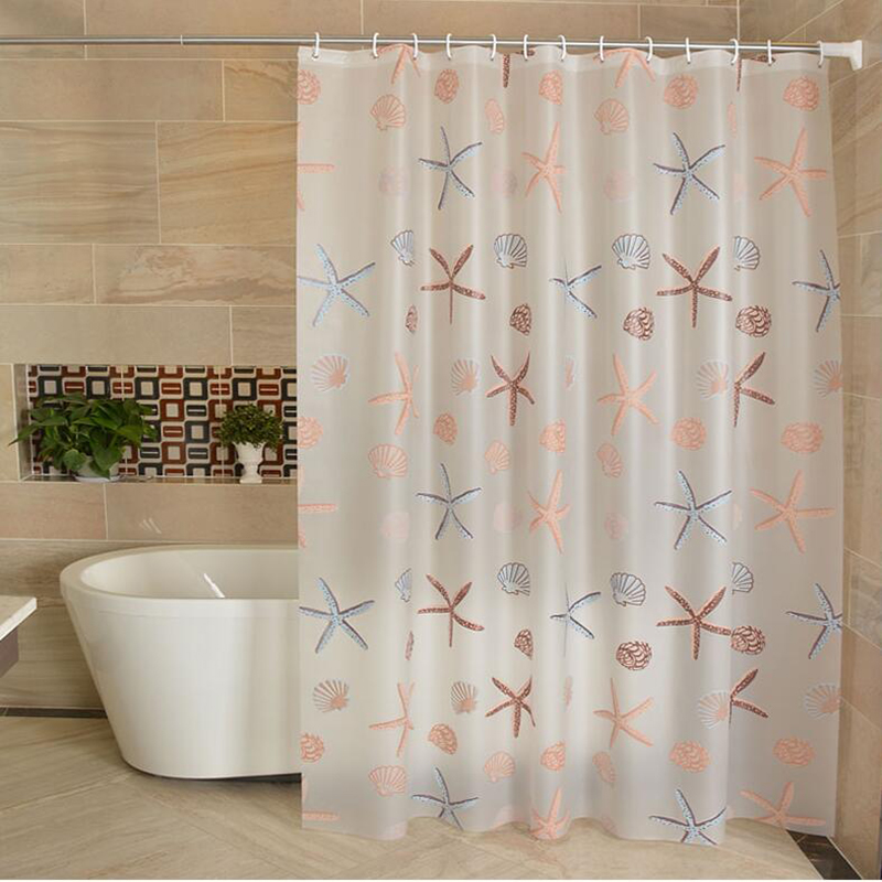 Plastic 3D Waterproof Shower Curtain Transparent White Clear With 12pcs Hooks