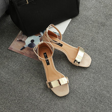 2017 New Arrival Hot Sale Pu Open Sandalias Mujer Sapato Feminino Melissa Medium With Metal Decorative Round Head Toe Sandals