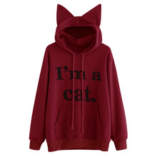 Cat Hoody Sportwear Women Cat Ear Cool Sweatshirt I AM CAT Print Harajuku Long Sleeve Tracksuit Anime Black Hooded Coat#240