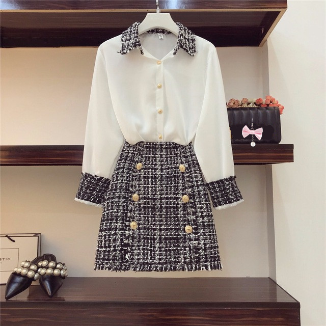 2019 Autumn Women Long Sleeves Turn-down Collar Shirts + Tweed Button Design Slim Skirt 2 pcs sets Female Fashion Suits A468