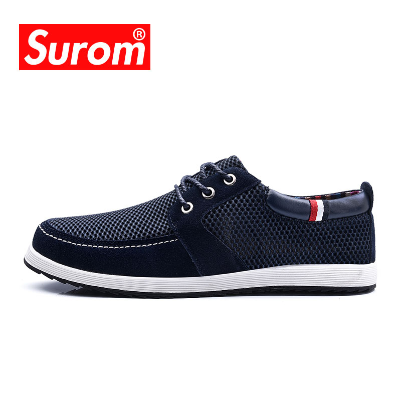 SUROM Men's Sneakers Walking Shoes 2018 Summer Hot Sale Mesh Lightweight Classic Men Breathable sport outdoor Skateboard Shoes
