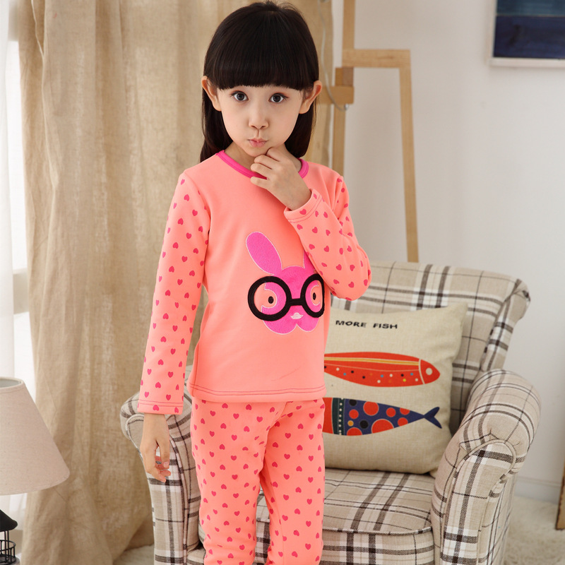 Girls' Fleece Lined Pajama Set Hello Kitty Clothing Sets Baby Girl Winter Clothes Christmas Pyjamas 1195(China)