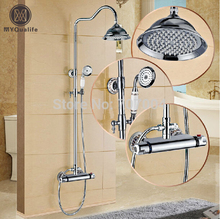 Polished Chrome Wall Mount Temperature Control Shower Faucet Set Brass Thermostatic Mixer Valve with Handshower(China)