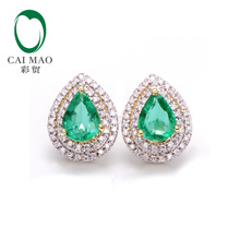 Caimao Classic Retro 14k Yellow Gold 1.85ctw Natural Emerald Diamond Earrings Studs Gorgeous Jewelry(China)