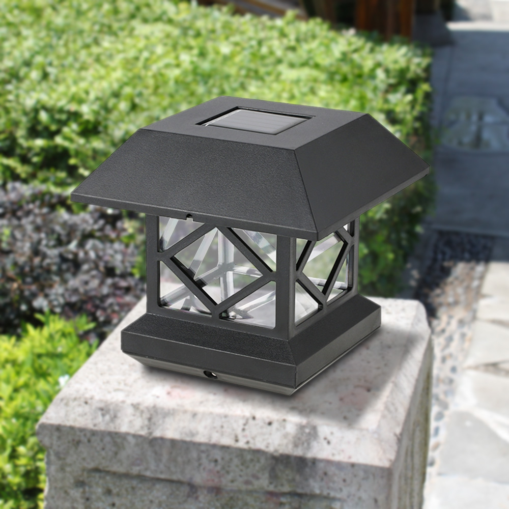 IP65 Water Resistant Outdoor Solar Powered Light Sensor LED Wall Pillar Chapiter Post Lamp for Garden Courtyard Gate Decoration(China (Mainland))