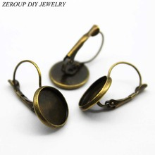 ZEROUP 12mm 10pcs Earring Hooks Round Copper Plated Cabochon Antique Bronze Brass Cameo Tray Settings Earring Blank Base(China)