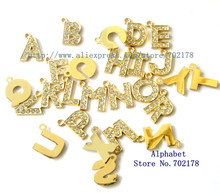 wholesales price DIY 1300pcs A-Z gold color zinc alloy hang Letters rhinestone approximately 15mm Pet Dog Cat Collar Tag